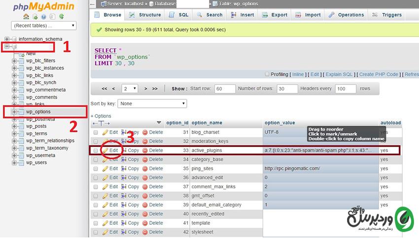 افزونه های فعال وردپرس در phpmyadmin