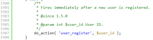 هوک ثبت نام کاربر در وردپرس